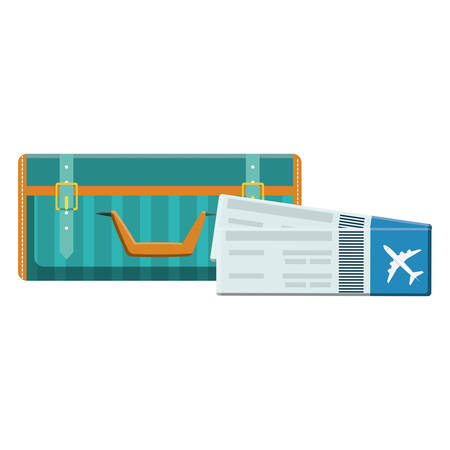 suitcase travel with tickets flight vector illustration design Banco de Imagens - 131931372