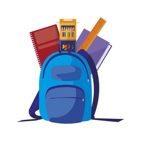 school bag with supplies vector illustration design