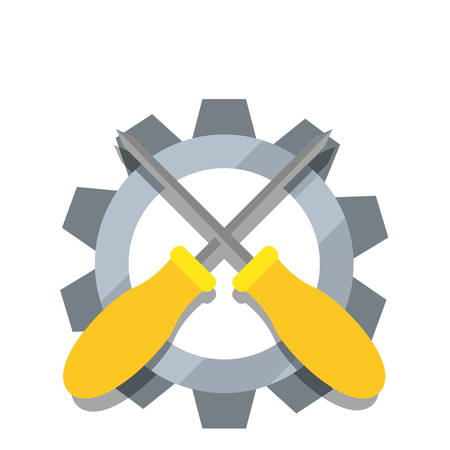 screwdriver gear construction tool vector illustration design