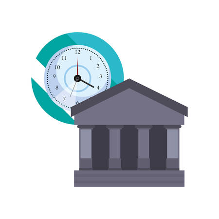 bank clock time buiness on white background vector illustration