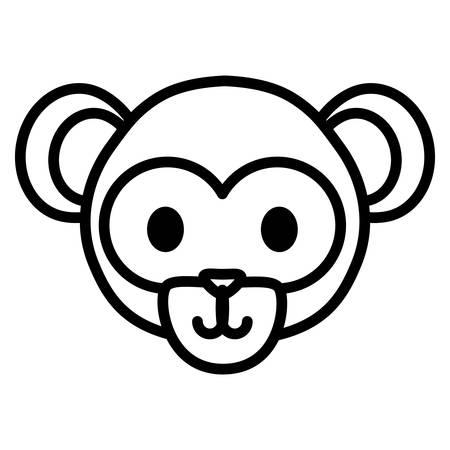 cute exotic monkey head character vector illustration design Çizim