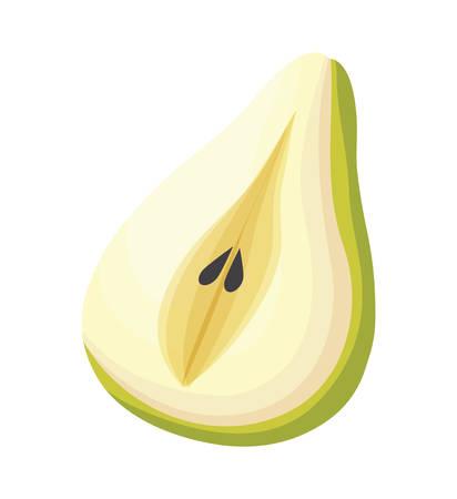 fresh half pear fruit isolated icon vector illustration design