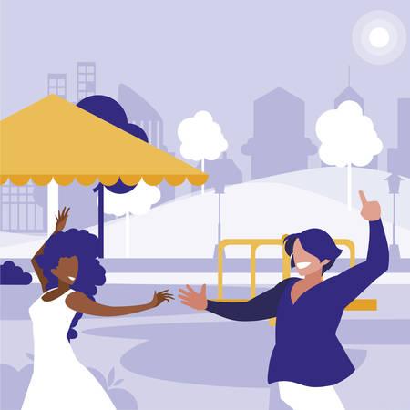 young interracial couple dancing in the park vector illustration design Stock fotó - 131938115