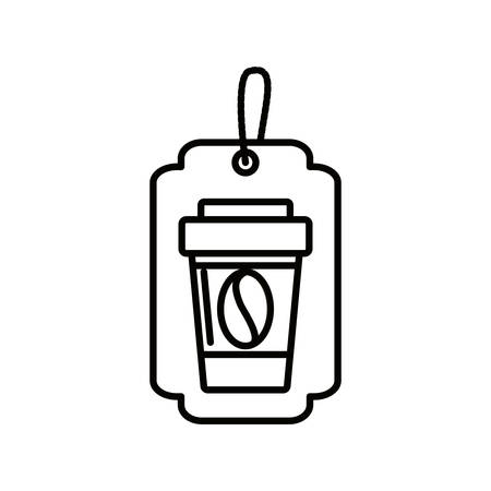 label with container plastic of coffee vector illustration design