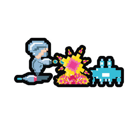 video game with monster animal avatar pixelated vector illustration design Illusztráció