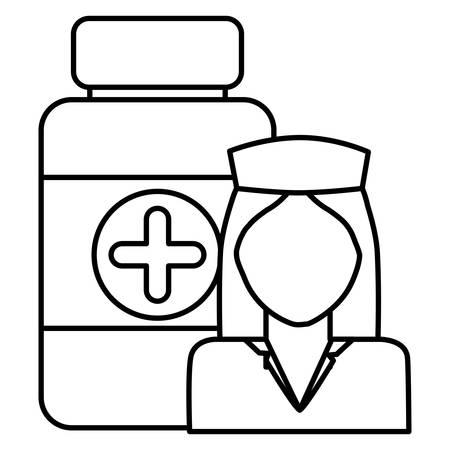 nurse professional with bottle drugs character vector illustration design Çizim