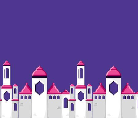 mosque castle ramadan kareem vector illustration design