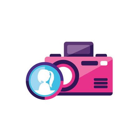 camera photographic with female user account  vector illustration design Illustration