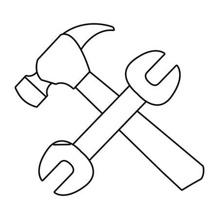 wrench and hammer tool vector illustration design Ilustração