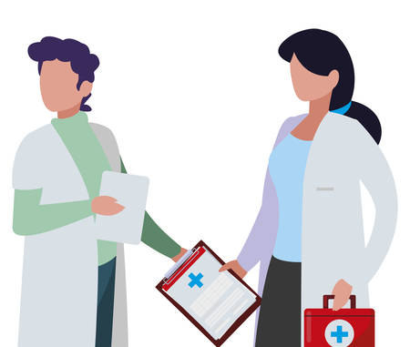 couple doctors with order and kit medical vector illustration design