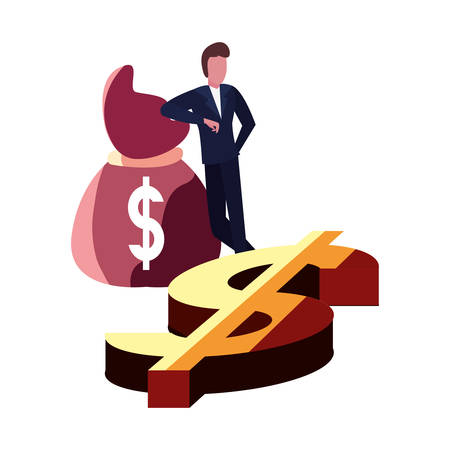 businessman money bag dollar vector illustration design