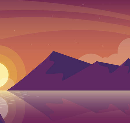 sky and mountains sunset beautiful scene vector illustration design