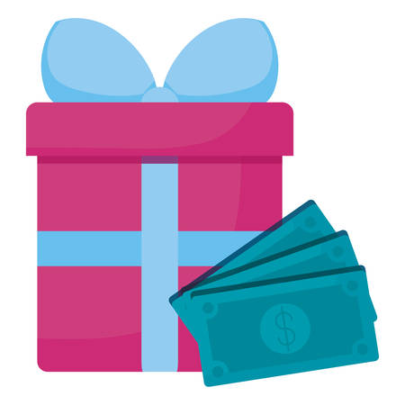 bills dollars money with gift box vector illustration design  イラスト・ベクター素材