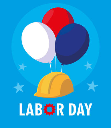 labor day card with safety helmet and balloons helium vector illustration design Illusztráció