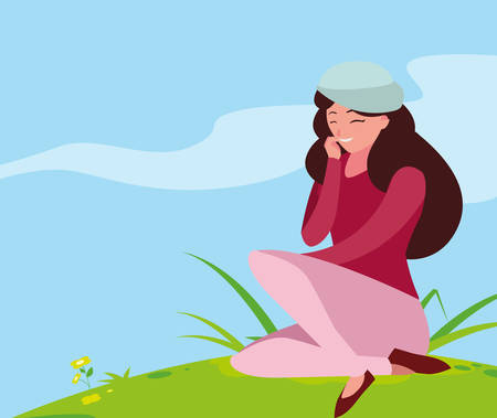 beautiful woman with beret seated in the park vector illustration design