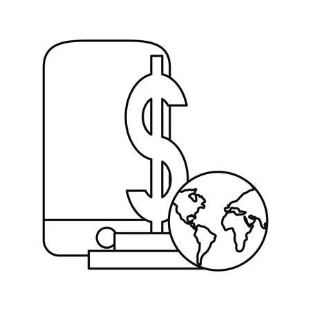cellphone world money dollar business vector illustration