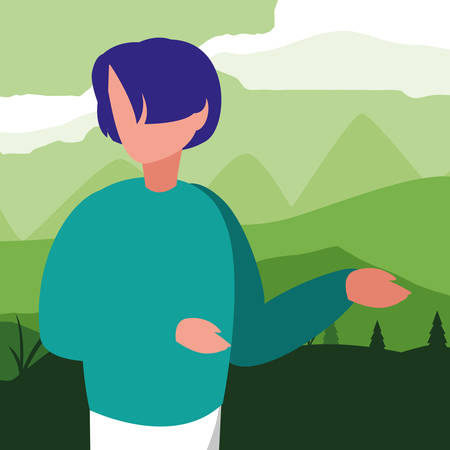 young man in forest landscape scene vector illustration design Ilustração