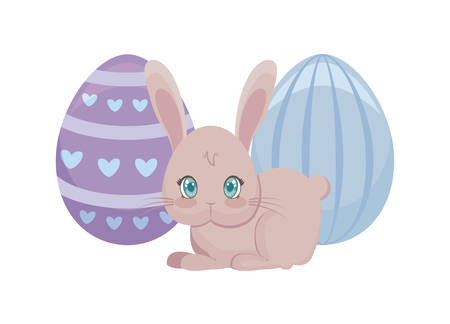 cute rabbit with eggs of easter vector illustration design