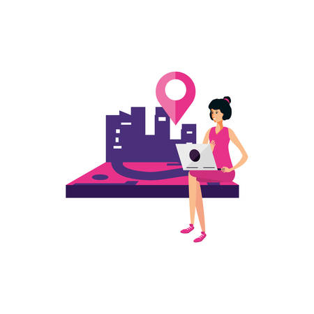 woman using laptop with pin pointer location vector illustration design