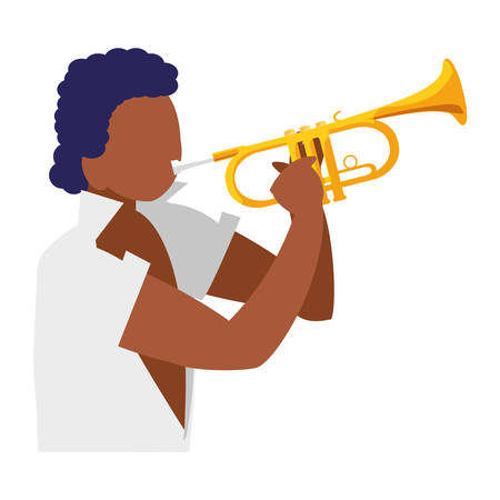 black tropical musician playing trumpet character vector illustration design Stok Fotoğraf - 131972893