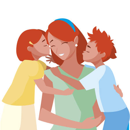 beautiful mother  with little son and daughter vector illustration design Иллюстрация