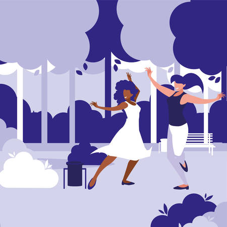 young interracial girls dancing in the park vector illustration design Çizim