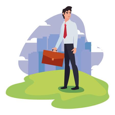 businessman with briefcase standing city background vector illustration Ilustração