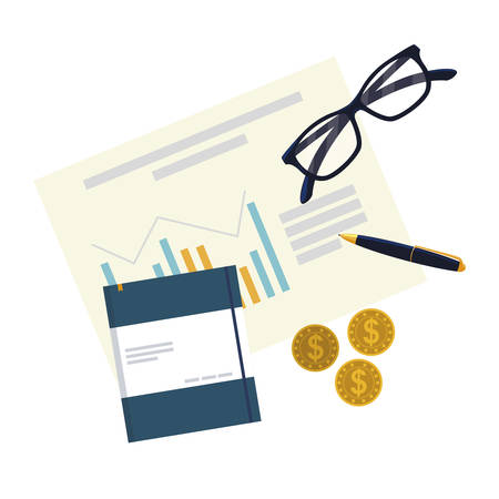 office supplies and financial documents vector illustration design Zdjęcie Seryjne - 131981847