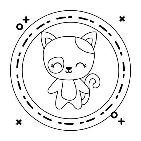 cute cat animal with frame circular vector illustration design Çizim