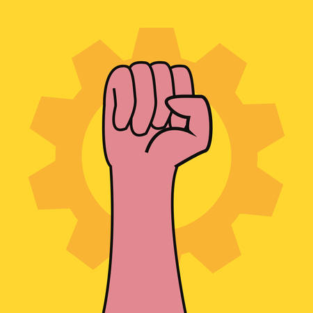 raised hand with gear labour day vector illustration design Stok Fotoğraf - 131981902