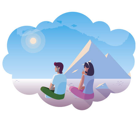 couple contemplating horizon in snowscape scene vector illustration design Çizim