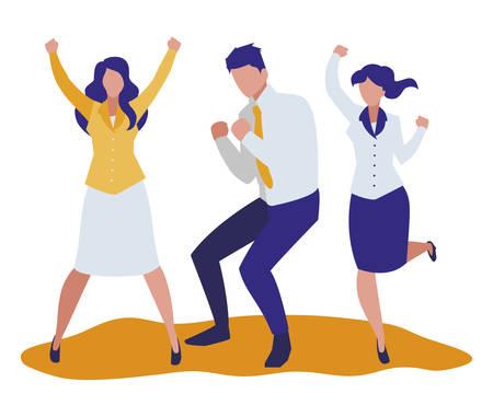 elegant business people celebrating characters vector illustration design