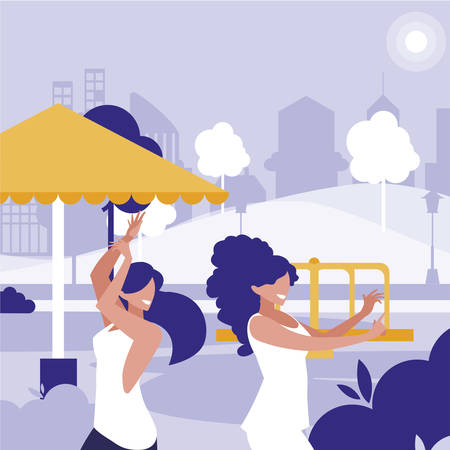 young girls dancing in the park characters illustration design
