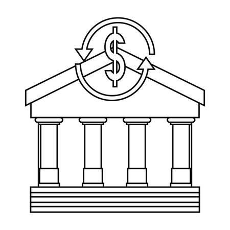 bank dollar exchange money on white background illustration