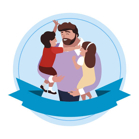 father with son and daughter characters in frame  illustration design