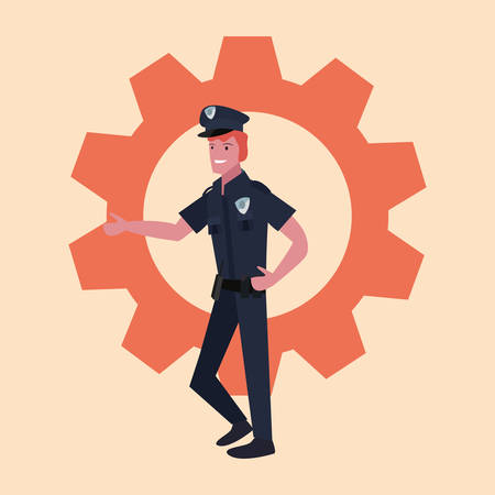 policeman profession labour day illustration design
