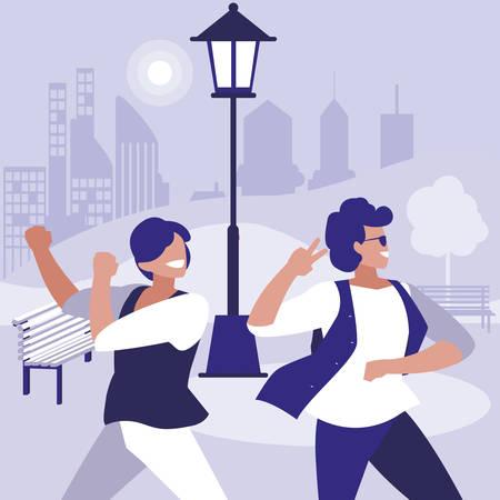 young dancers couple dancing in the park illustration design Иллюстрация