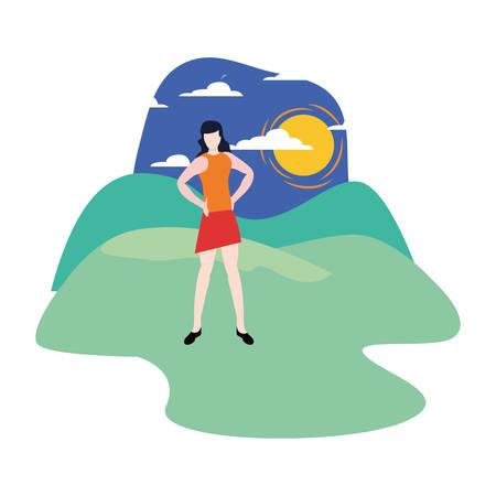 woman portrait character outdoors panorama illustration Çizim