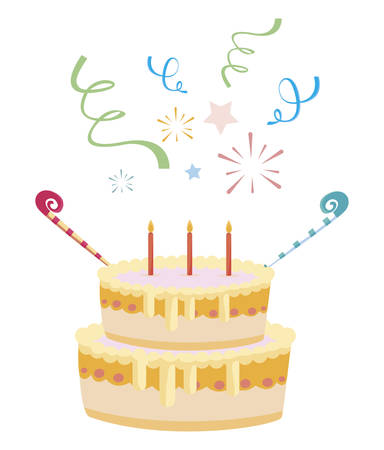 sweet cake birthday with candles illustration design Çizim