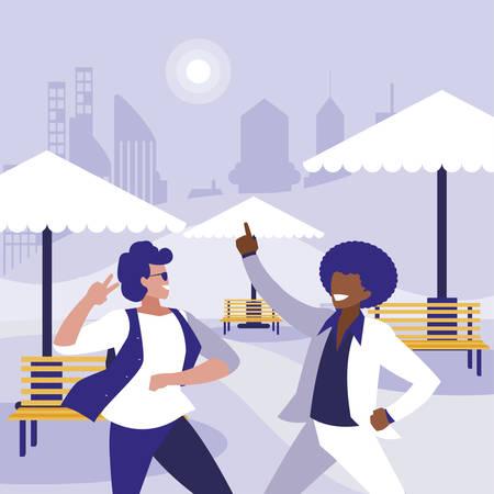 interracial dancers couple in the park illustration design