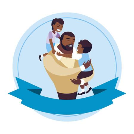 afro father with sons characters in frame illustration design Ilustração