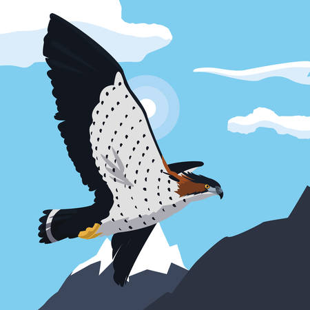 beautiful hawk flying majestic bird in the landscape illustration design
