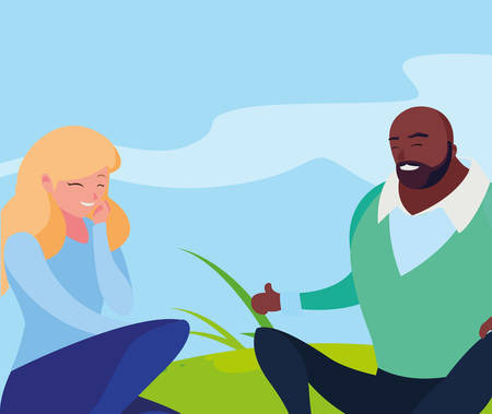 interracial young couple seated in the field illustration design
