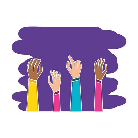 hands up avatar character illustration design