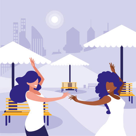 young interracial girls dancing in the park illustration design Çizim