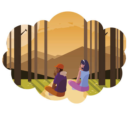 couple contemplating horizon in the forest scene vector illustration design Çizim