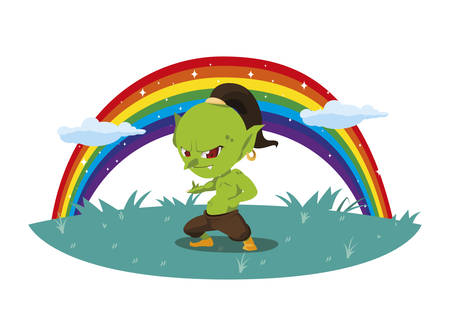 ugly troll with rainbow magic character illustration design
