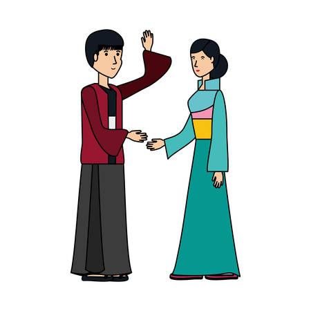 Chinese couple avatar character illustration design