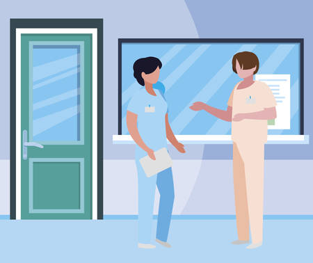 couple medicine workers in hospital reception illustration design