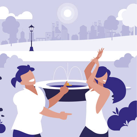 young couple dancing in the park characters illustration design